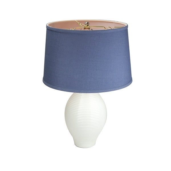 Lily Ribbed Table Lamp Base by Laura Ashley with Hard Back Textured Slate Blue Shade