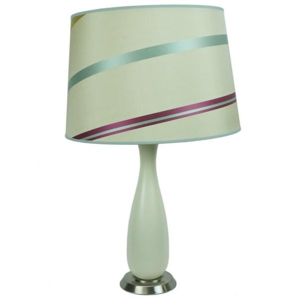 Penelope Beige Table Lamp with 14 juliette striped drum