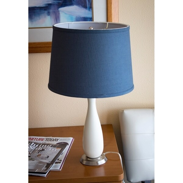 Penelope Beige Table Lamp Base by Laura Ashley with Drum Textured Slate Blue Shade