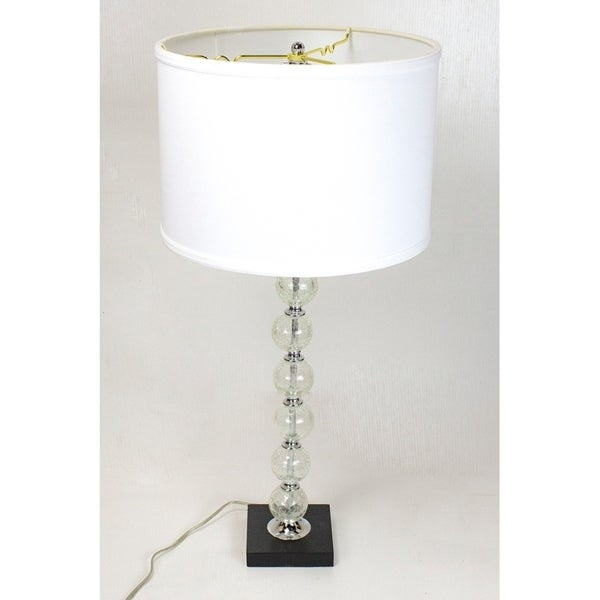 Barbizon Table Lamp Chrome Base by Laura Ashley with Drum Premium White Linen Shade