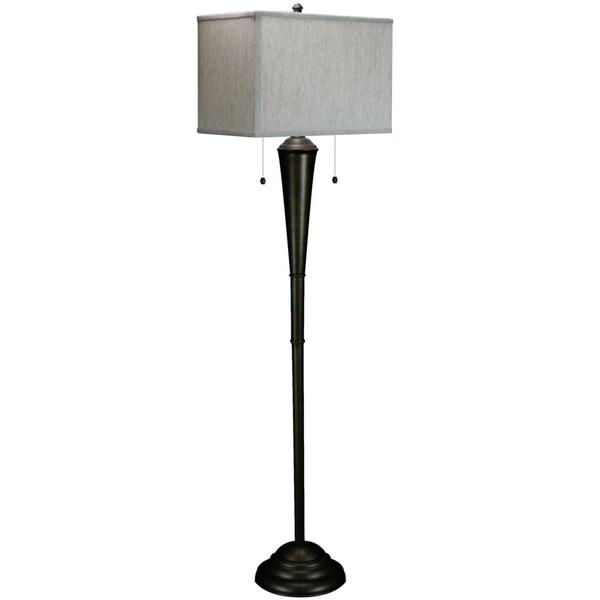 Marshall Floor Lamp with 16 Textured Oatmeal rectangular