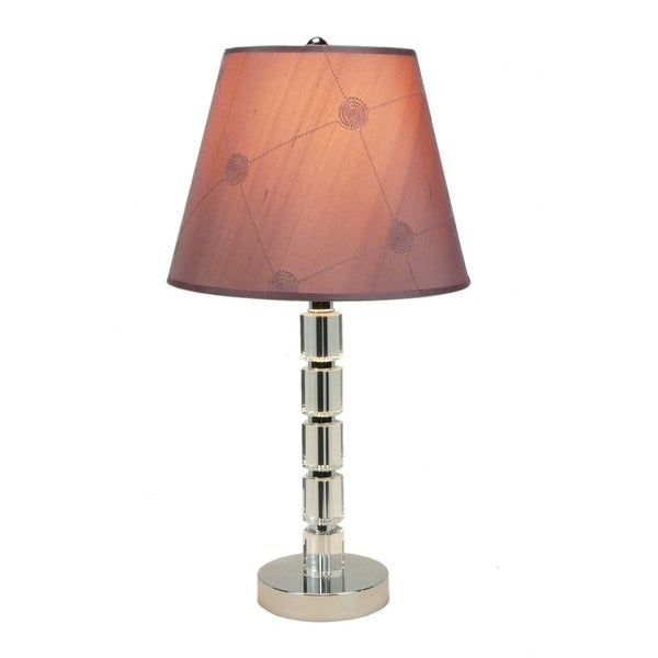 Lola Crystal Table Lamp with 10 mauve barrel
