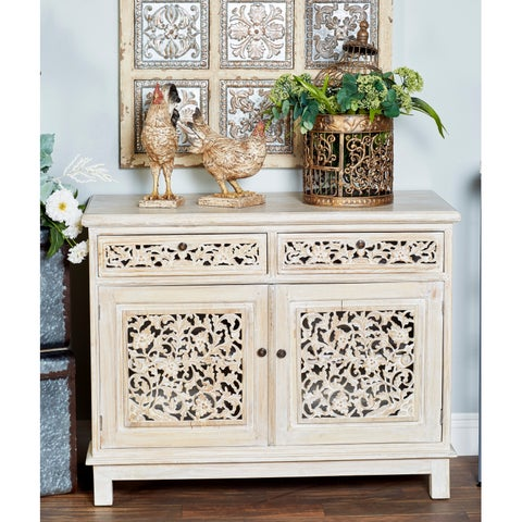 Rustic Mahogany Wood Carved Floral Cabinet by Studio 350