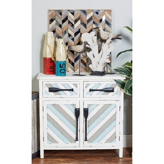 Coastal Rectangular Wooden Cabinet with Oar Handles by Studio 350