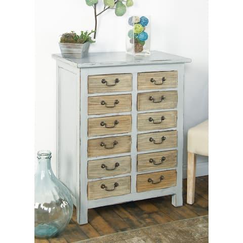 Rustic Rectangular 12-Drawer Mahogany Wood Chest Cabinet by Studio 350