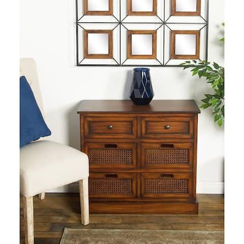 Rustic 28 X 31 Inch 6-Drawer Rectangular Wooden Storage Side Cabinet