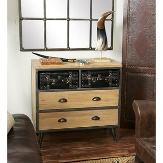 Studio 350 Black/Grey/Light Brown Iron/Faux Leather/Wood 4-drawer Suitcase Chest