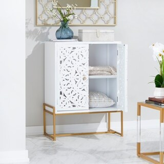 Traditional White 2-Door Carved Wooden Cabinet by Studio 350