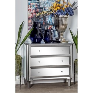 Studio 350 Grey Wood/Glass Mirrored 3-drawer Side Cabinet