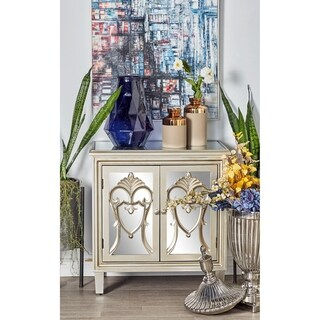 Modern 32 x 32 Inch 2-Door Carved Filigree Cabinet by Studio 350