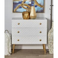 Modern White Diamond-Patterned 3-Drawer Wooden Chest by Studio 350