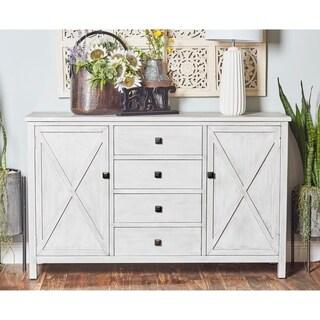 "57"" x 36"" Farmhouse 4-Drawer White Cabinet w/ Shelves by Studio 350"