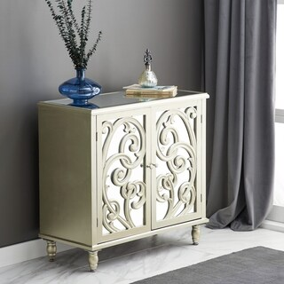 Modern 2-Door Wood and Mirror Scrolled Cabinet