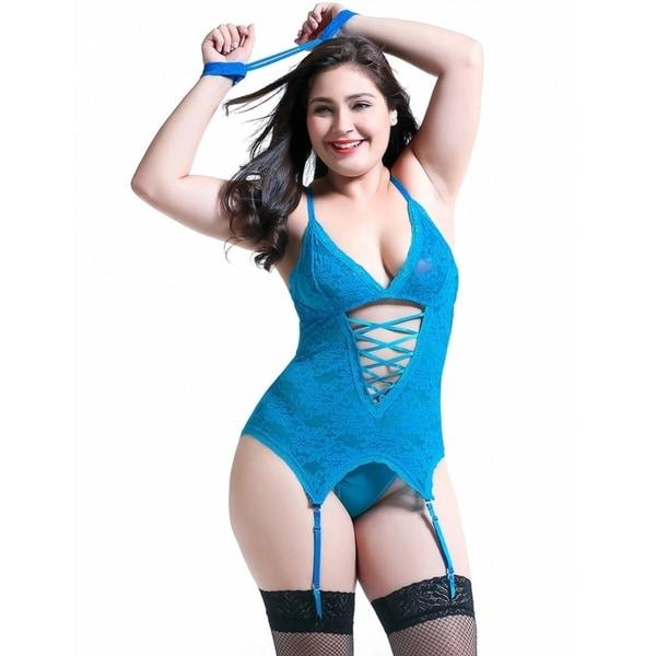 Women Sexy Lingerie Stretchy Lace Bodysuit Blue