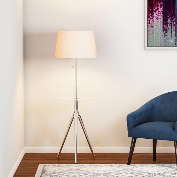 Carson Carrington Lahti Chrome Floor Lamp with Tray