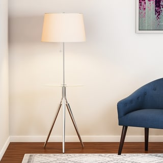 Carson Carrington Lahti Chrome Floor Lamp with Tray