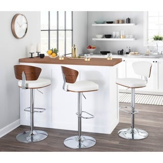 Carson Carrington Visby Mid-century Modern Adjustable Walnut Wood and Faux Leather Barstool