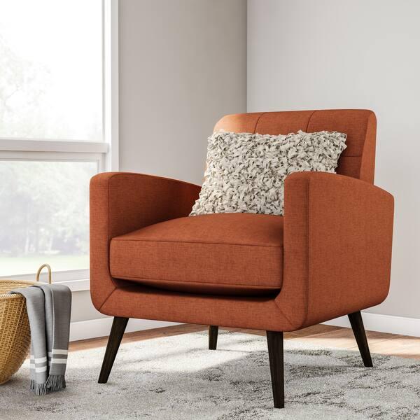 Groovy Shop Carson Carrington Keflavik Mid Century Orange Linen Arm Lamtechconsult Wood Chair Design Ideas Lamtechconsultcom