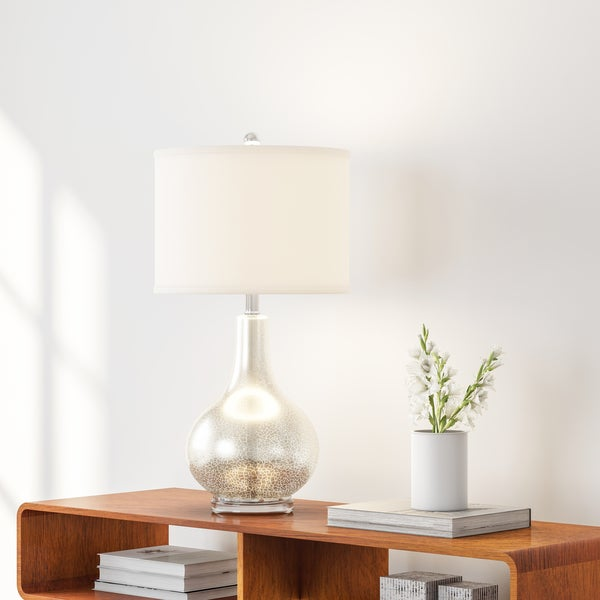 Carson Carrington Gothenburg Glass and Silver White Linen Table Lamp