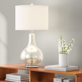 Carson Carrington Gothenburg Glass and Silver White Linen Table Lamp