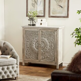 Traditional Gray 2-Door Wood Flourished Cabinet by Studio 350