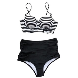 Cupshe Women's Stripe Printing High-waisted Two Pieces Bikini Set Push Up Swimwear Bathing Suit