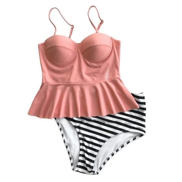 8c8c16ab62e6 Cupshe Women's Falbala Top Stripe Bottom Bikini Set High-waisted  Swimsuits