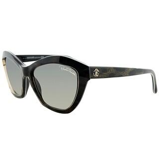 Roberto Cavalli Cat-Eye RC 796S Alamak 05B Women Black Brown Leopard Frame Grey Gradient Lens Sunglasses