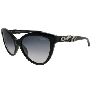 Roberto Cavalli Cat-Eye RC 878S Kuma 01B Women Black Frame Grey Gradient Lens Sunglasses