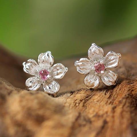 Handmade Sterling Silver 'Winter Blooms' Tourmaline Earrings (Thailand)