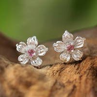 Handmade Sterling Silver 'Winter Blooms' Tourmaline Earrings (Thailand)