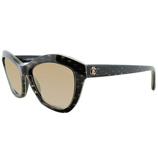 Roberto Cavalli Cat-Eye RC 796S Alamak 05F Women Brown Striped Beige Frame Brown Gradient Lens Sunglasses