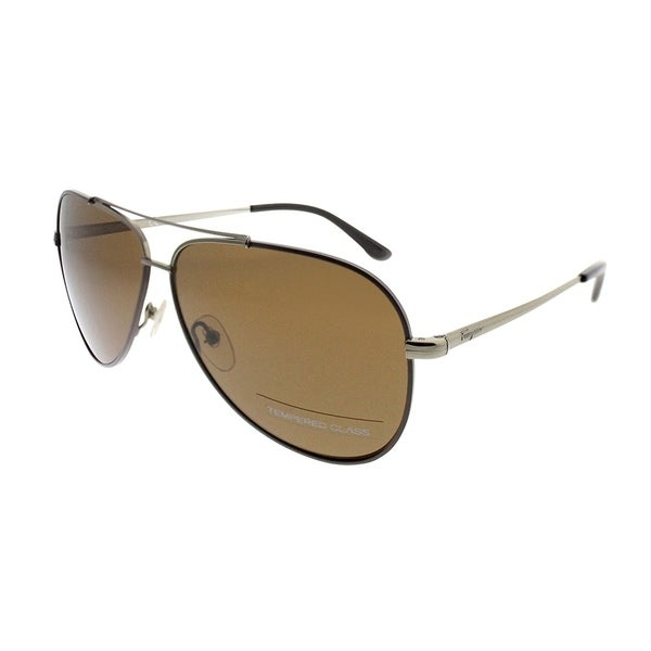 Salvatore Ferragamo Aviator SF 131SG 211 Unisex Dark Gold Chocolate Leather Frame Brown Gradient Lens Sunglasses
