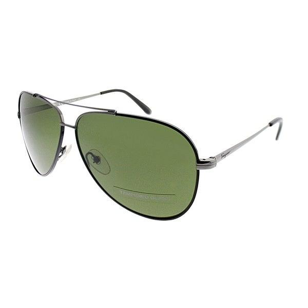 Salvatore Ferragamo Aviator SF 131SG 37 Unisex Ruthenium Black Leather Frame Green Gradient Lens Sunglasses