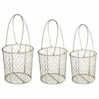 Metal Wire Mesh Storage Basket, Set of 3, Brown