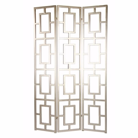 Trellis Style Lustrous 3-Panel Screen, Gold