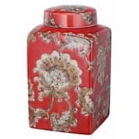Beautiful Lidded Flower Motif Jar In Red