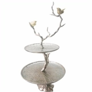 Impressively Designed Iron Branch 2-Tiered Tray, Silver