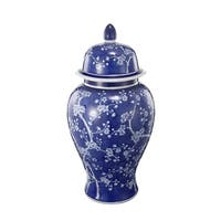 Well- Designed Flowers Ginger Jar In Blue and White - blue and  white