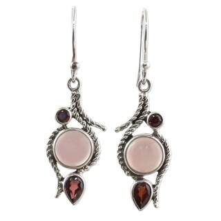 Handmade Sterling Silver 'Shades of Red' Garnet Chalcedony Earrings (India)