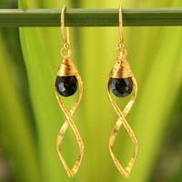 Handmade Gold Overlay 'Whirlwind' Spinel Earrings (Thailand)