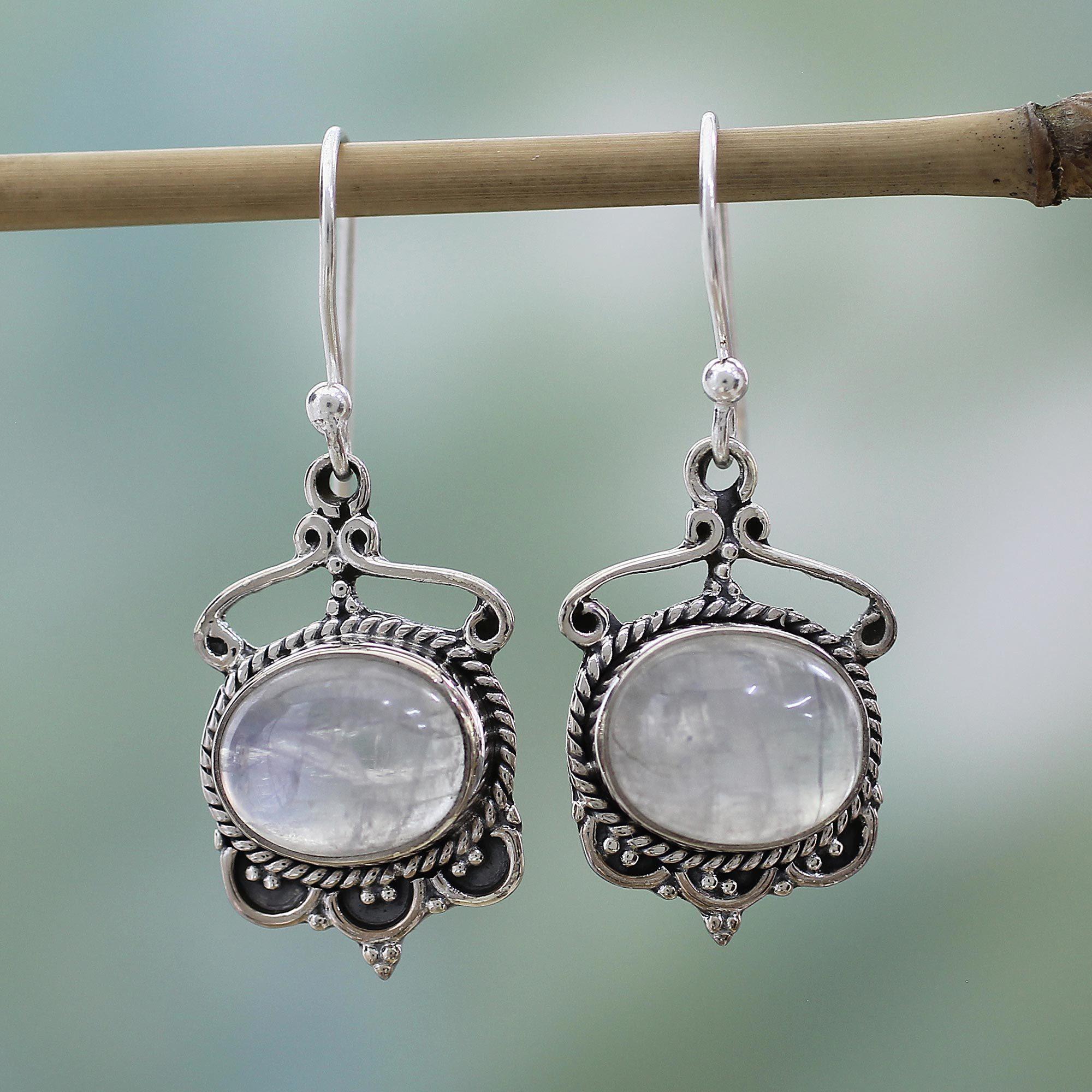Handmade Sterling Silver Moonlit Decadence Rainbow Moonstone Earrings India