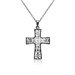Mondevio Diamond-cut Filigree Butterfly Pendant Necklace in Two-Tone Sterling Silver