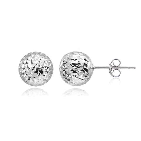 Mondevio Polished 10mm Diamond-Cut Ball Bead Stud Earrings in Sterling Silver