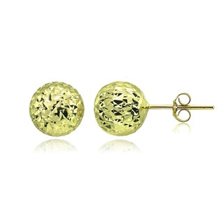 Mondevio Polished 10mm Diamond-Cut Ball Bead Stud Earrings in Sterling Silver (Option: Yellow)