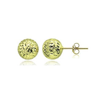 Mondevio Polished 8mm Diamond-Cut Ball Bead Stud Earrings in Sterling Silver (Option: Yellow)