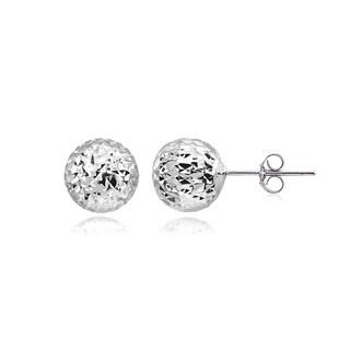 Mondevio Polished 8mm Diamond-Cut Ball Bead Stud Earrings in Sterling Silver