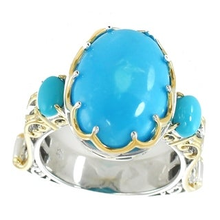 Michael Valitutti Palladium Silver Kingman Sleeping Beauty Turquoise Ring