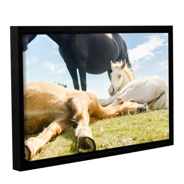 Andrew Lever's 'Three Horses Ways' Gallery Wrapped Floater-framed Canvas