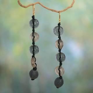 Handmade Recycled 'Pretty Taupe' Earrings (Ghana)